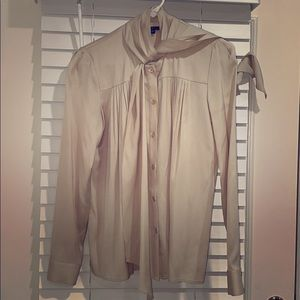 Theory Creme Blouse with Scarf Tie